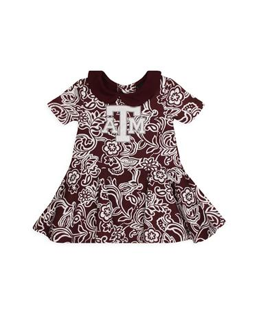 Texas A&M Sasha Infant Onesie Dress - Front Maroon/ White