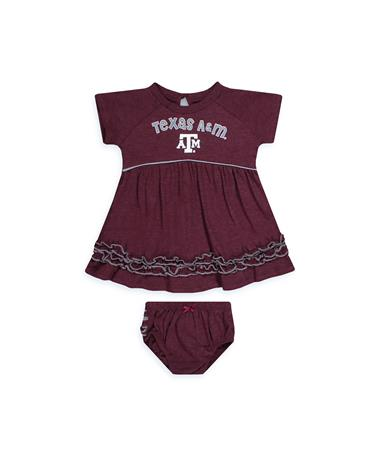 Texas A&M Plucky Infant Dress & Bloomers Set - Front Maroon