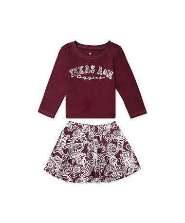 Texas A&M Aggies Birdie Toddler Top & Skirt Set - Front Maroon/ White