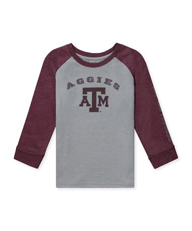 Texas A&M Animaniacs Toddler Boys Raglan LS Tee-Front Grey/ Maroon