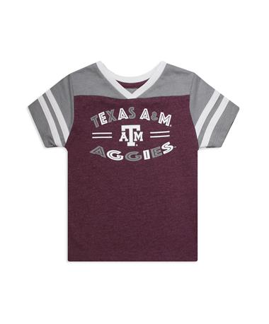 Texas A&M Aggies Toddler Girls Tee - Front Grey/ Maroon
