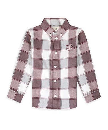 Texas A&M Garb Cooper Toddler Long Sleeve Flannel-Front Maroon/ White