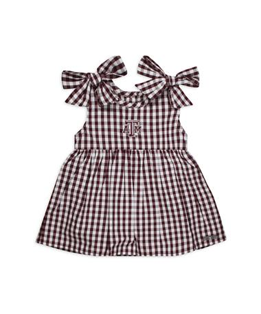 Texas A&M Cora Infant Gingham Dress Maroon/ White