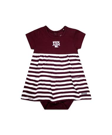Texas A&M Liza Infant Cotton Stripe Dress - Front Maroon/ White