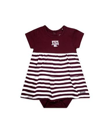 Texas A&M Liza Infant Cotton Stripe Dress - Front Maroon/ White