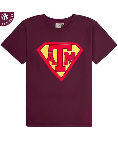 Texas A&M Super Youth T-Shirt - Front Maroon AH
