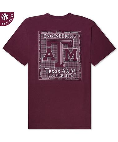 Texas A&M Engineering T-Shirt - Back AH Maroon