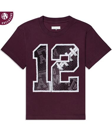 Texas A&M Youth 12 Football Stitches T-Shirt - Front Maroon AH