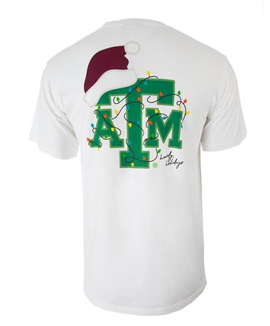 Texas A&M Christmas Lights T-Shirt - Back White