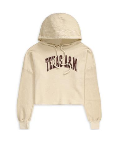 Texas A&M Corded Crop Hoodie Oatmeal
