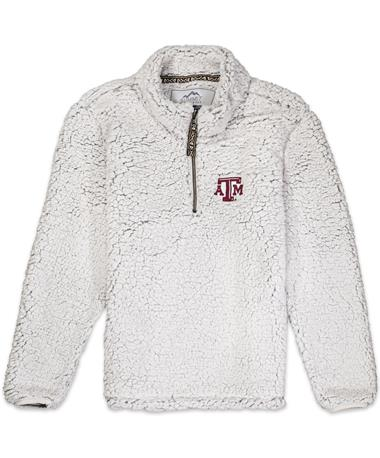Teas A&M Youth Quarter Zip Sherpa - Front Putty