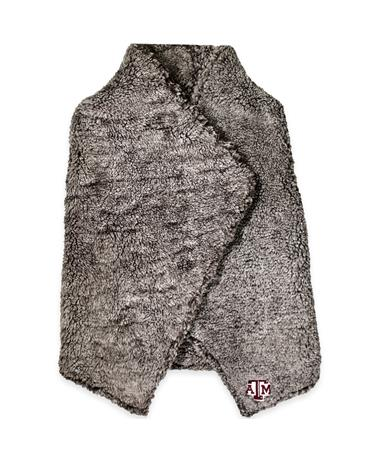 Texas A&M Heathered Sherpa Draped Vest - Smoke Heather - Front Smoke Heather