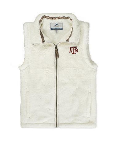 Texas A&M Ladies Double Plush Vest Putty