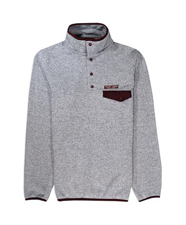 Texas A&M Snap Placket Sweater - Front Grey/ Maroon
