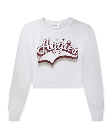 Texas A&M Aggies ZooZatz Success Crop Long Sleeve - White - Front White