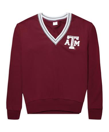 Texas A&M ZooZatz Inspire V-Neck Sweatshirt - Front Maroon/ White