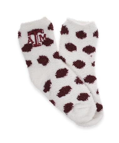 Texas A&M ZooZatz Fuzzy Dot Socks - White Maroon and White