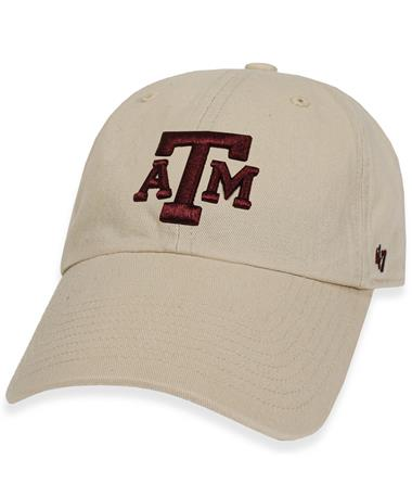 Texas A&M `47 Brand Natural Clean Up Cap - Front Natural