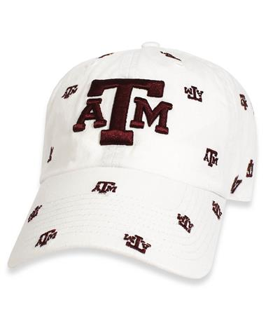 Texas A&M `47 Brand Women`s Repeating Clean Up Cap - Front White and Maroon