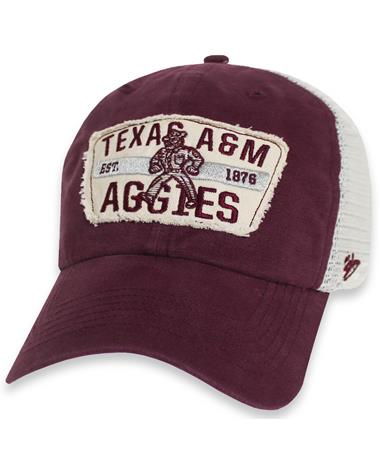 Texas A&M `47 Brand Crawford Clean Up Snapback - Maroon - Front Maroon