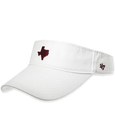 Texas A&M `47 Brand State of Texas Base Runner Visor - White - Front White