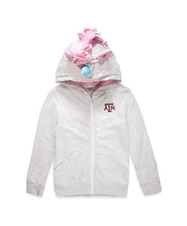 Texas A&M Unicorn Hoodie-Front Ash Grey