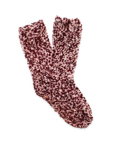 Texas A&M Marled Grip Fuzzy Dot Socks Maroon and White
