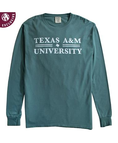 Texas A&M Double Line Texas Long Sleeve T-Shirt Cypress Green
