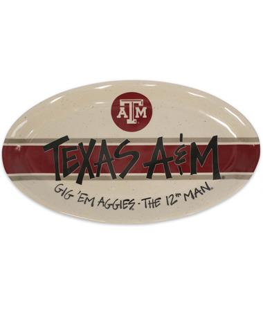 Texas A&M Magnolia Lane Oval Plate - Front MIULTI