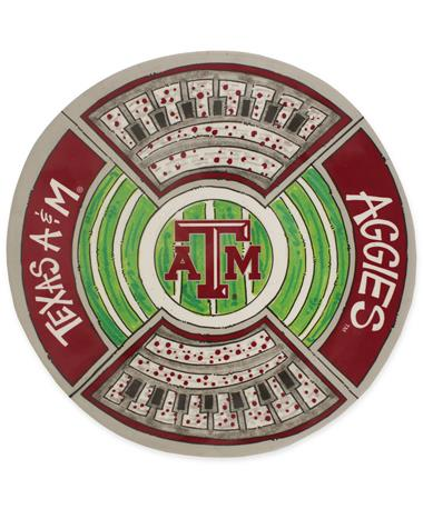 Texas A&M Magnolia Lane Round Stadium Platter - Top Multi