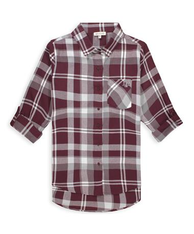 Texas A&M Women`s Boyfriend Plaid Button Down - Front Maroon/ White