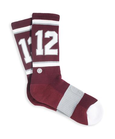 Texas A&M 12 Socks - Front Maroon/ White