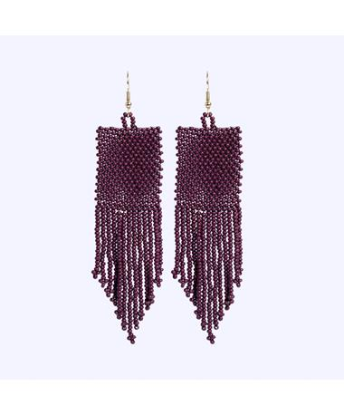 Maroon Fringe Seed Bead Earrings multi