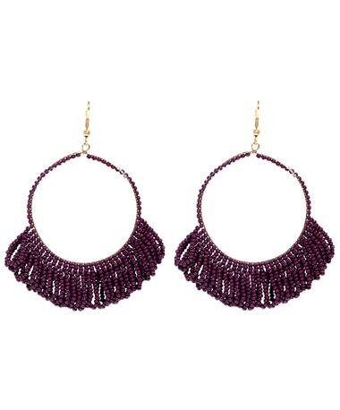 Maroon Fringe Hoop Beaded Earrings Multi