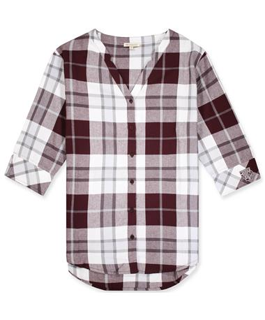 Texas A&M Women`s Plaid Button Down Tunic - Front White/ Maroon