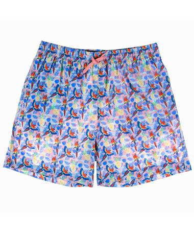 Parrots & Pineapples Swim Trunks - Front Pink
