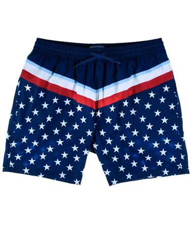 Stars & Stripes Swim Trunks - Front Navy Blue