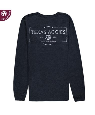 Texas A&M Aggies Stamped Long Sleeve T-Shirt 3501 Drk Grey Heather
