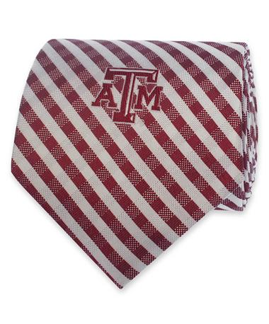 Texas A&M Maroon & White Gingham Tie - Rolled MAROON AND WHITE