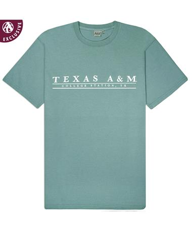 Texas A&M College Station Basic Bar T-Shirt - Coastal - Front Coastal AH