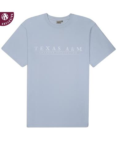 Texas A&M College Station Basic Bar T-Shirt - Sky - Front Sky AH