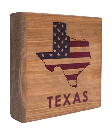 Maroon Texas State American Flag Wooden Sign - Angled Maroon