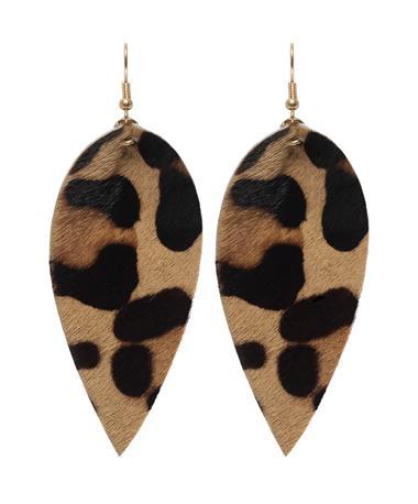 Leopard Print Leaf Earring - Pair Multi