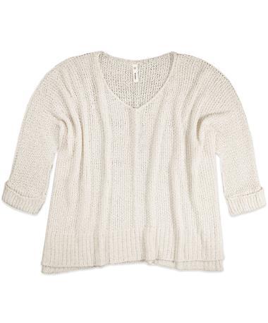 3/4 Sleeve Cream Sweater - Front Cream