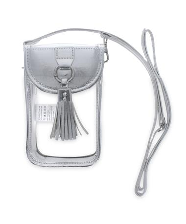 Silver Clear Cell Phone Crossbody - Front Silver