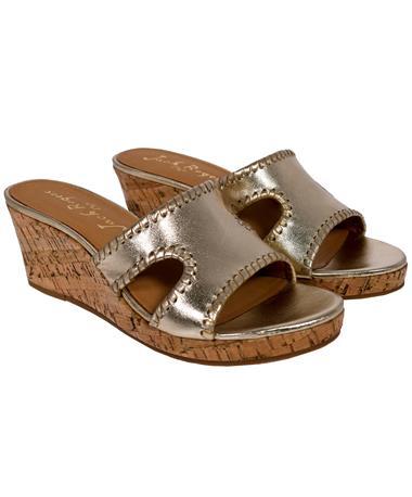 Jack Rogers Sloane Platinum Wedge Sandal - Angled Platinum