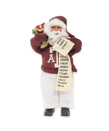 "Texas A&M 9"" Santa Ornament-Front Maroon"