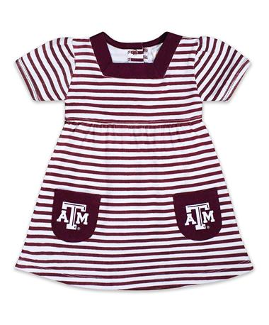 Texas A&M Infant/Toddler Striped Pocket Dress - Front MAROON/WHITE