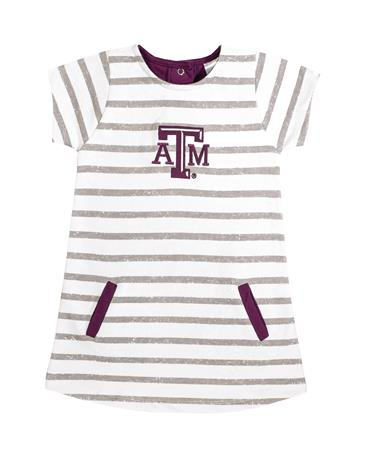 Texas A&M Toddler French Terry Stripe Dress - Front MULTI