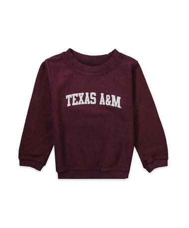 Texas A&M Toddler Corded Crew - Maroon - Front MAROON